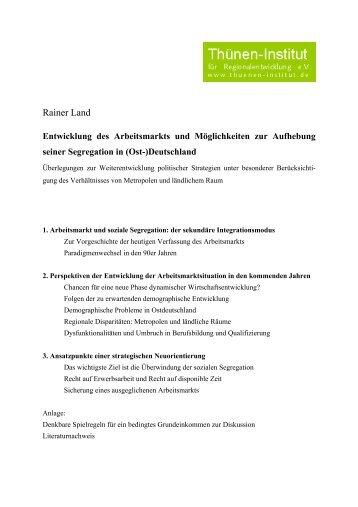 (Ost-)Deutschland - Rainer Land Online Texte