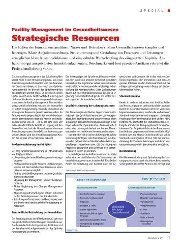 Facility Management im Gesundheitswesen - RESO Partners AG
