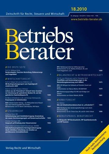 Betriebs-Berater (BB), 65. Jg. (2010) - wuestemann - Universität ...