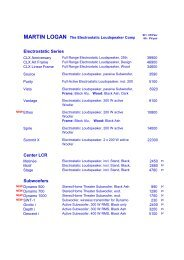 MARTIN LOGAN The Electrostatic Loudspeaker Company - Erni Hifi