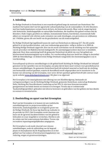 1. Inleiding 2. Doelstelling en opzet van het Groenplan