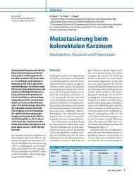 Metastasierung beim kolorektalen Karzinom - Tumorregister München