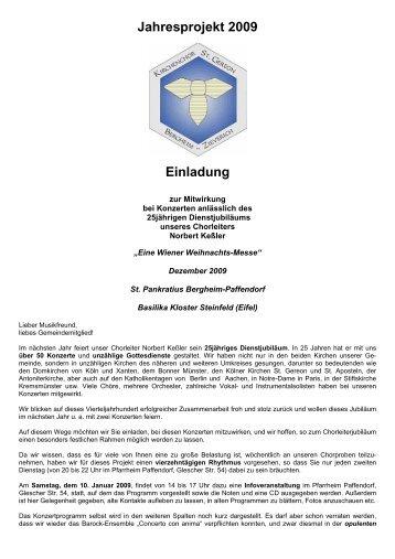 Jahresprojekt 2009 Einladung - Pfarre Paffendorf