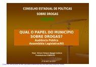 qual o papel do município sobre drogas? - Assembléia Legislativa