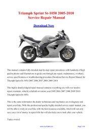 Triumph Sprint St-1050 2005-2010 Workshop Manual - Repair manual