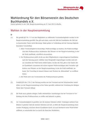 Wahlordnung für den Börsenverein des Deutschen Buchhandels e.v.