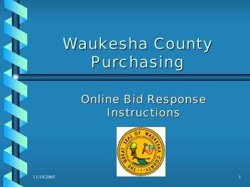 Bid Response Help - Waukesha County