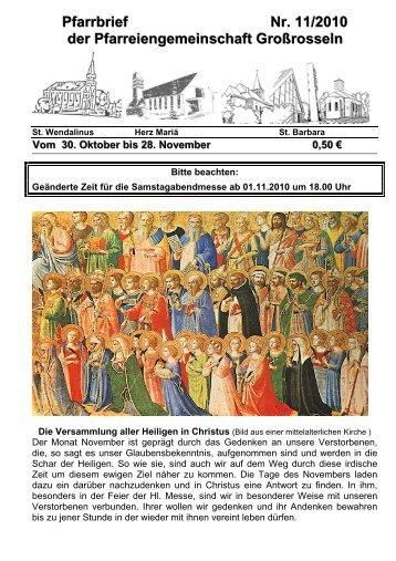 Pfarrbrief Nr. 11/2010 der Pfarreiengemeinschaft Großrosseln