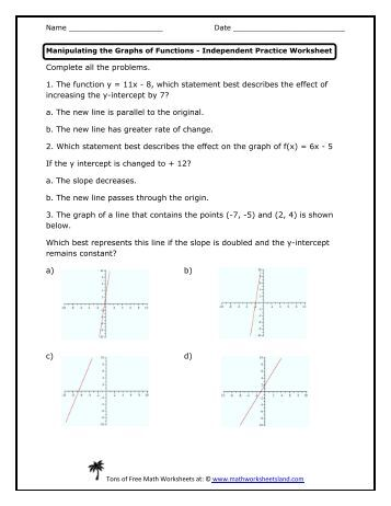 Math 161 Graphs, Functions and Models Worksheet Determine if the ...
