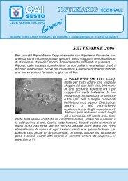 SETTEMBRE 2006.PDM.pmd - CAI - sezione di Sesto San Giovanni