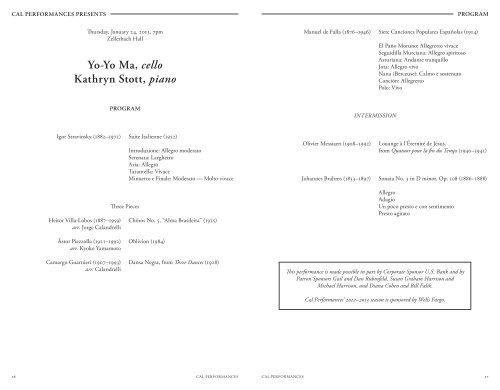 Yo-Yo Ma, cello Kathryn Stott, piano - Cal Performances