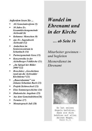 Wandel im Ehrenamt und in der Kirche - Evangelische Landeskirche ...