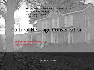 Baleta_Cultural Heritage Conservation.pdf - Forum for Urban Future ...