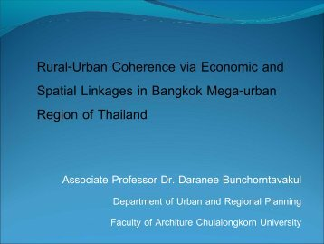 Rural-Urban Coherence via Economic and Spatial Linkages in Bangkok ...