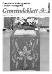 August / Oktober 2013 - Evangelische Kirchengemeinde Schönow ...