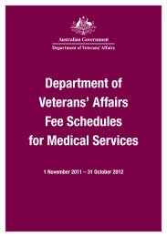 Department of Veterans' Affairs Fee Schedules for Medical Services