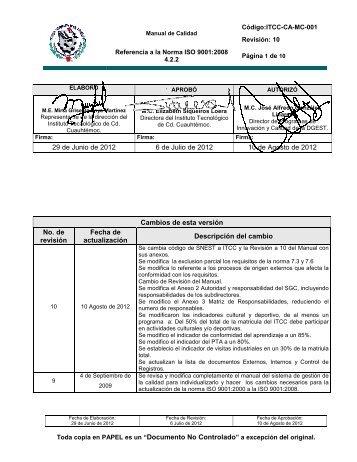 ITCC-CA-MC-001 MANUAL DEL SGC.pdf - instituto tecnologico de ...