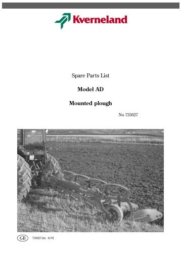 Spare Parts List Model AD Mounted plough - Hjallerup ...