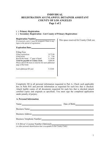 Registration As Legal Document Assistant RegistrarRecorder - Legal document assistant