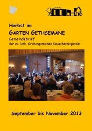 September bis November 2013 - Kirchengemeinde Gethsemane