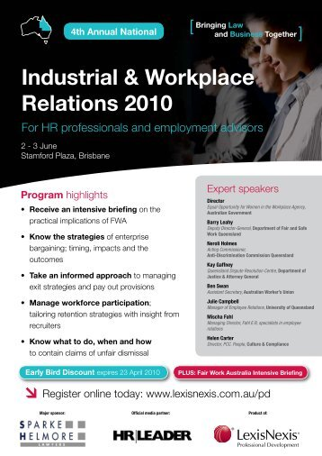Industrial & Workplace Relations 2010 - Carter Newell Lawyers
