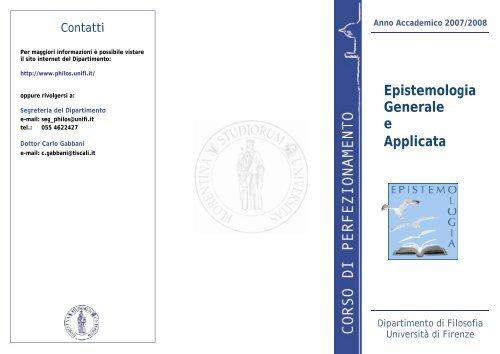 Perfezionamento in Epistemologia - Dipartimento di Filosofia