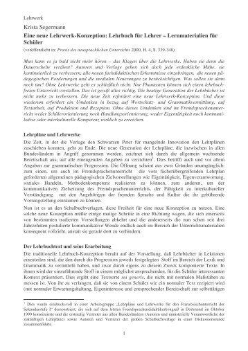 Krista Segermann Eine neue Lehrwerk-Konzeption: Lehrbuch für ...
