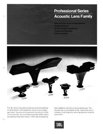 Acoustic Lens Family - JBL Professional
