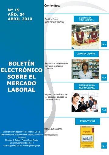 boletín electrónico sobre el mercado laboral - Ministerio del Trabajo ...