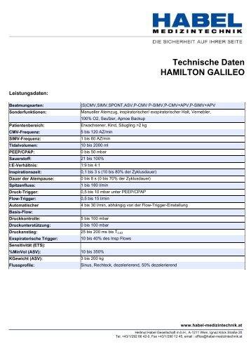 Technische Daten HAMILTON GALILEO - HABEL Medizintechnik