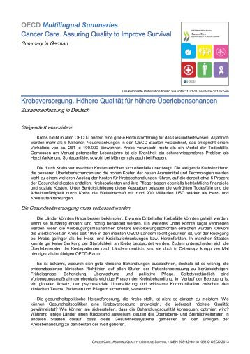 Cancer Care (Summary in German) - OECD Online Bookshop