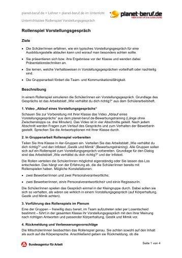Arbeitsblatt: Unterrichtsidee Thema Bewerben - Planet Beruf.de