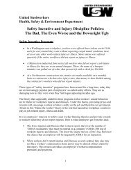 Safety Incentive and Injury Discipline Policies - United Steelworkers