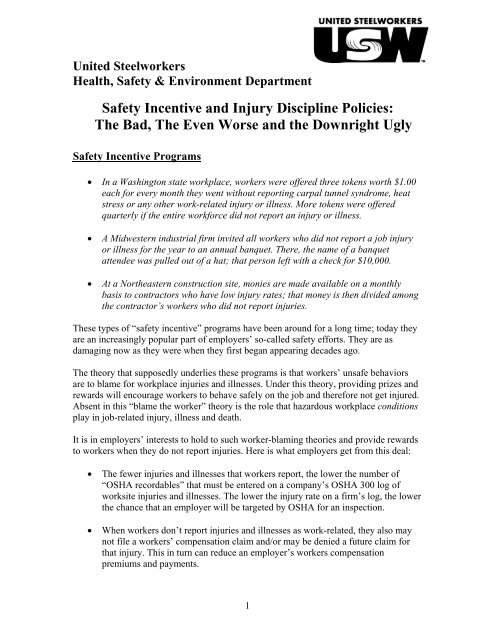 Safety Incentive and Injury Discipline Policies - United