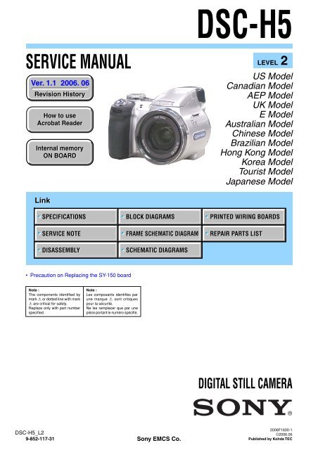 Service Manual of Sony DSC-H5 Digital Camera - SONYRUS on fire oven diagrams, sony laptop repair diagrams, sony wiring harness colors, sony xplod wiring color code, steam boiler residential diagrams,