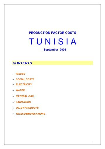couts des facteurs de production - Invest in Tunisia, The Foreign ...
