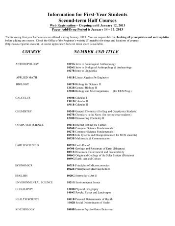 Second Term Half Courses for 2013