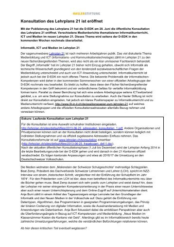 Konsultation des Lehrplans 21 ist eröffnet - Fit in IT