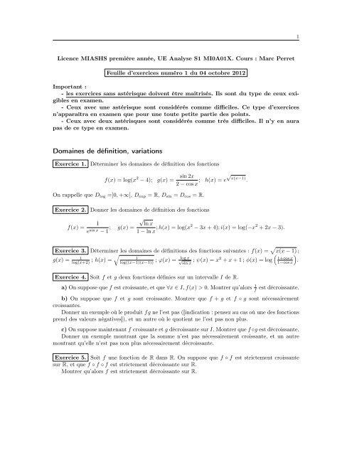 Domaines De Définition Variations Limites Continuité