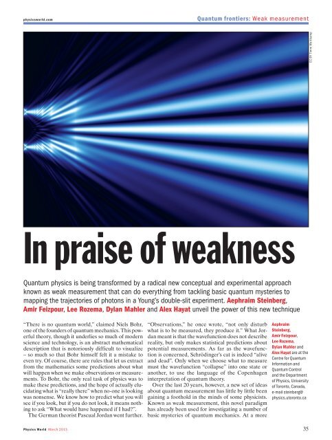 In Praise of Weakness - Department of Physics - University of Toronto