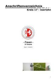 Anschriftenverzeichnis als PDF-Dokument öffnen. - Kreis 17 - Iserlohn