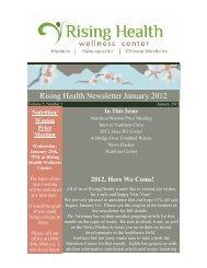 Rising Health Newsletter January 2012 - Rising Health Wellness ...