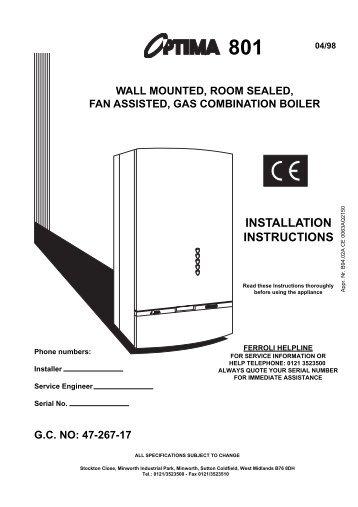 Ferroli tempra 12 installation, maintenance and user instructions.