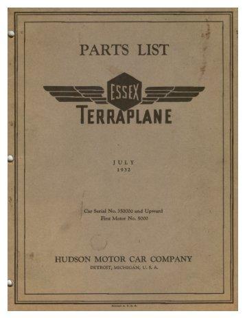 1932 Essex Terraplane Parts Lis - Hudson-Essex-Terraplane Club