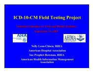 ICD-10-CM Field Testing Project - National Committee on Vital and ...