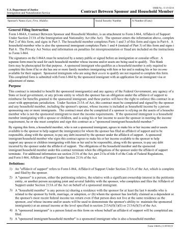 Instructions I 864a Contract Between Sponsor And Ilw