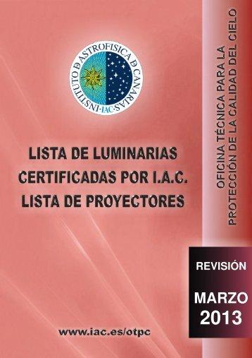 Listados de luminarias, lámparas y proyectores - Instituto de ...