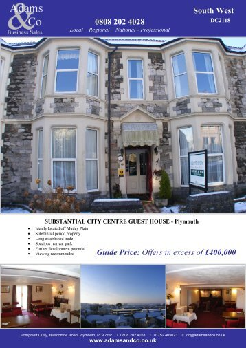 0808 202 4028 South West Guide Price: Offers in ... - Adams & Co