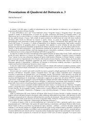 Presentazione di Quaderni del Dottorato n. 3 - Università degli Studi ...