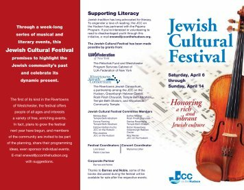 Jewish Cultural Festival Printable Brochure - JCC on the Hudson